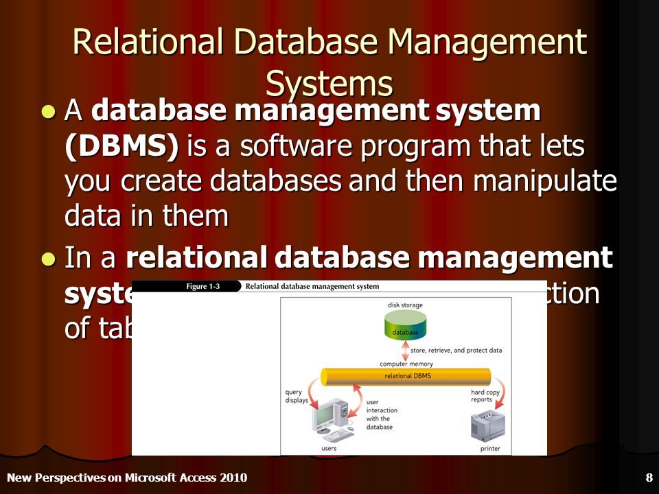 Relational Database Management Systems A database management system (DBMS) is a software program that lets you create databases and then manipulate data in them A database management system (DBMS) is a software program that lets you create databases and then manipulate data in them In a relational database management system, data is organized as a collection of tables In a relational database management system, data is organized as a collection of tables New Perspectives on Microsoft Access 20108