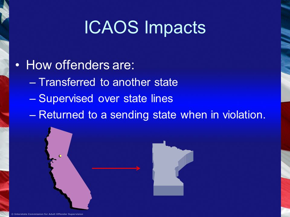 ICAOS Impacts How offenders are: –Transferred to another state –Supervised over state lines –Returned to a sending state when in violation.