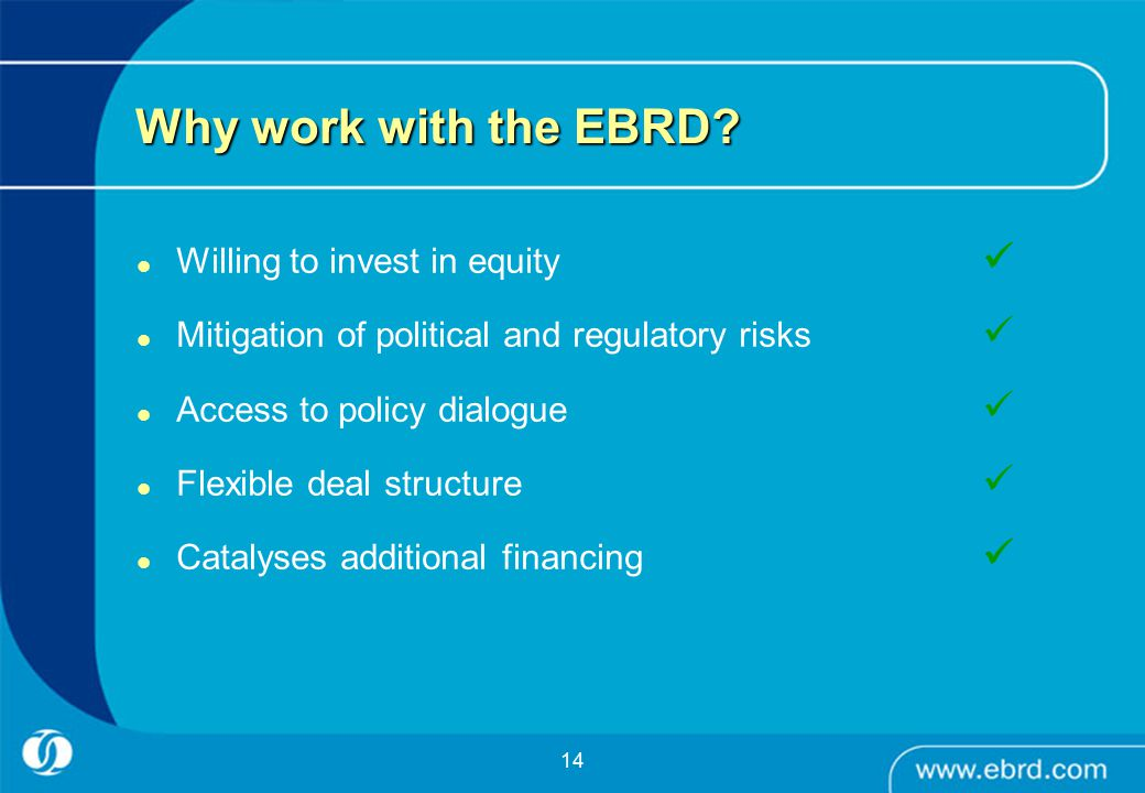 14 Why work with the EBRD.