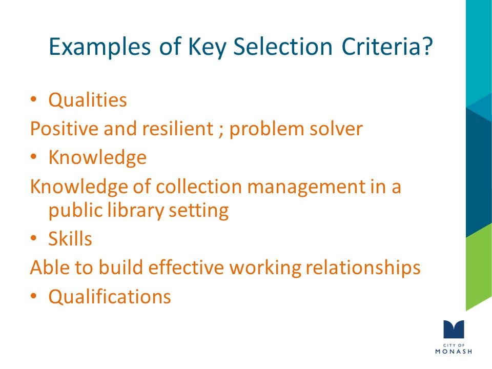 Examples of Key Selection Criteria.