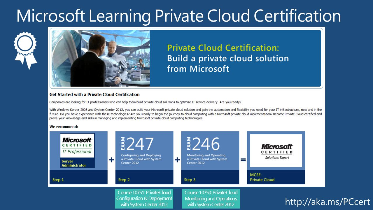 Course 10750: Private Cloud Monitoring and Operations with System Center 2012 Course 10751: Private Cloud Configuration & Deployment with System Center