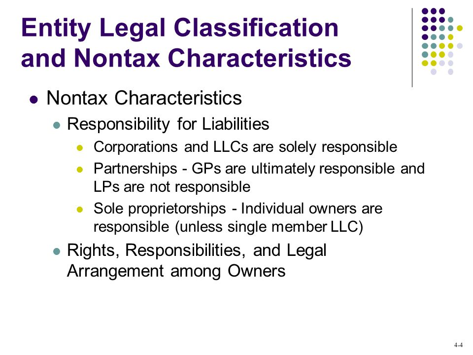 4-4 Entity Legal Classification and Nontax Characteristics Nontax Characteristics Responsibility for Liabilities Corporations and LLCs are solely responsible Partnerships - GPs are ultimately responsible and LPs are not responsible Sole proprietorships - Individual owners are responsible (unless single member LLC) Rights, Responsibilities, and Legal Arrangement among Owners