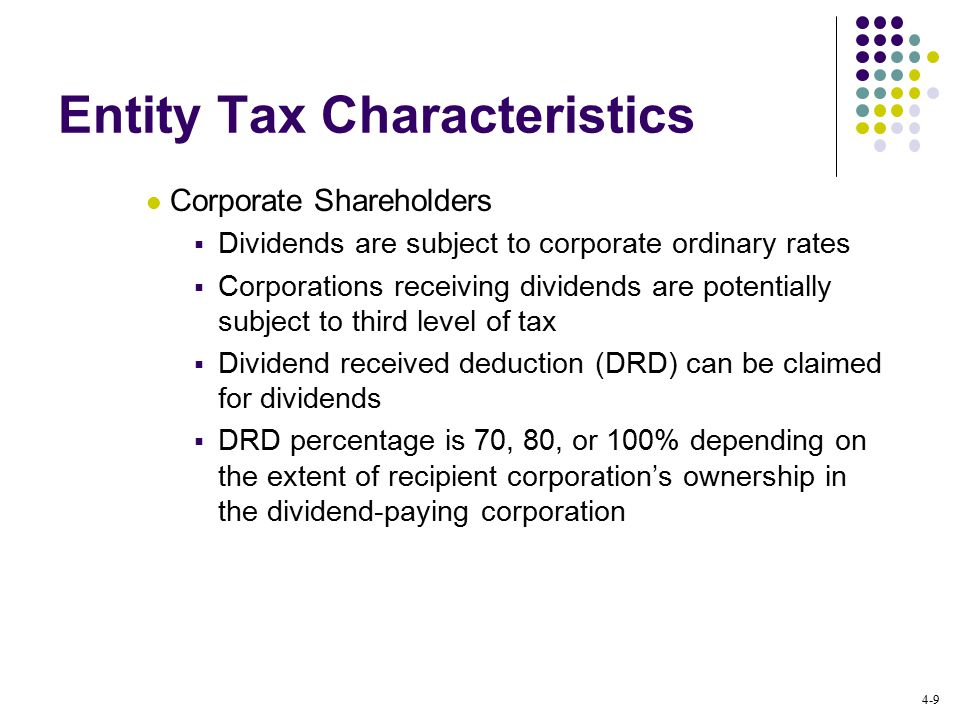 4-9 Entity Tax Characteristics Corporate Shareholders  Dividends are subject to corporate ordinary rates  Corporations receiving dividends are potentially subject to third level of tax  Dividend received deduction (DRD) can be claimed for dividends  DRD percentage is 70, 80, or 100% depending on the extent of recipient corporation's ownership in the dividend-paying corporation