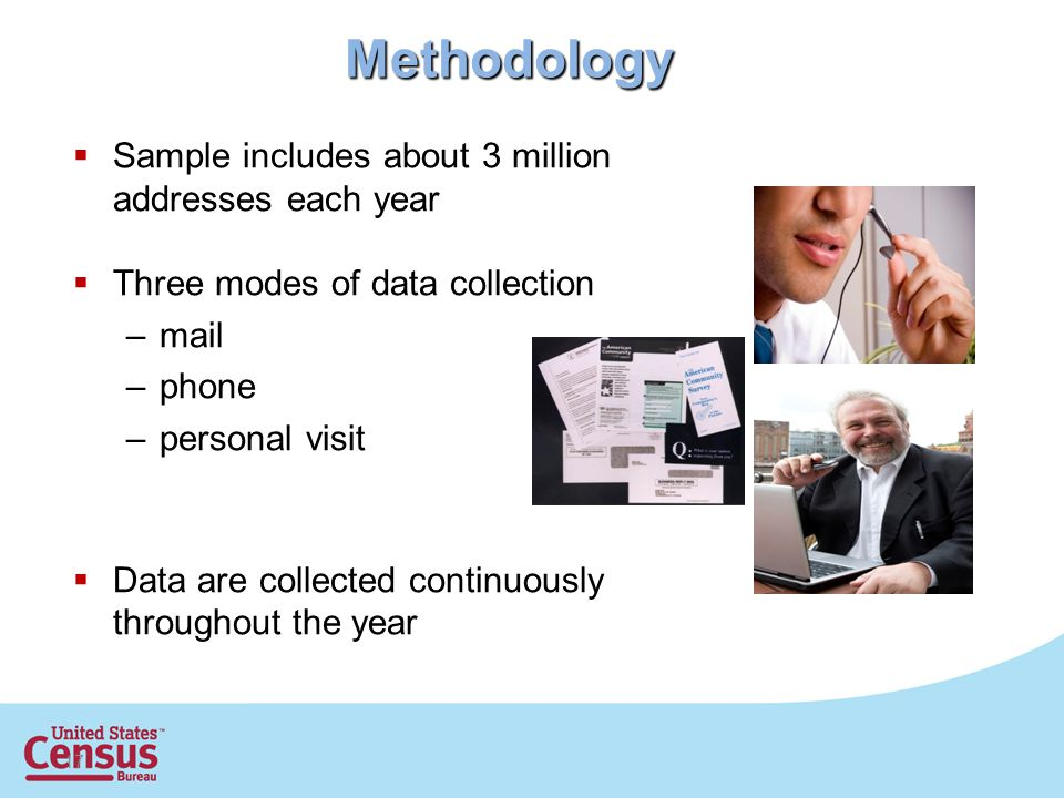 17 Methodology  Sample includes about 3 million addresses each year  Three modes of data collection –mail –phone –personal visit  Data are collected continuously throughout the year