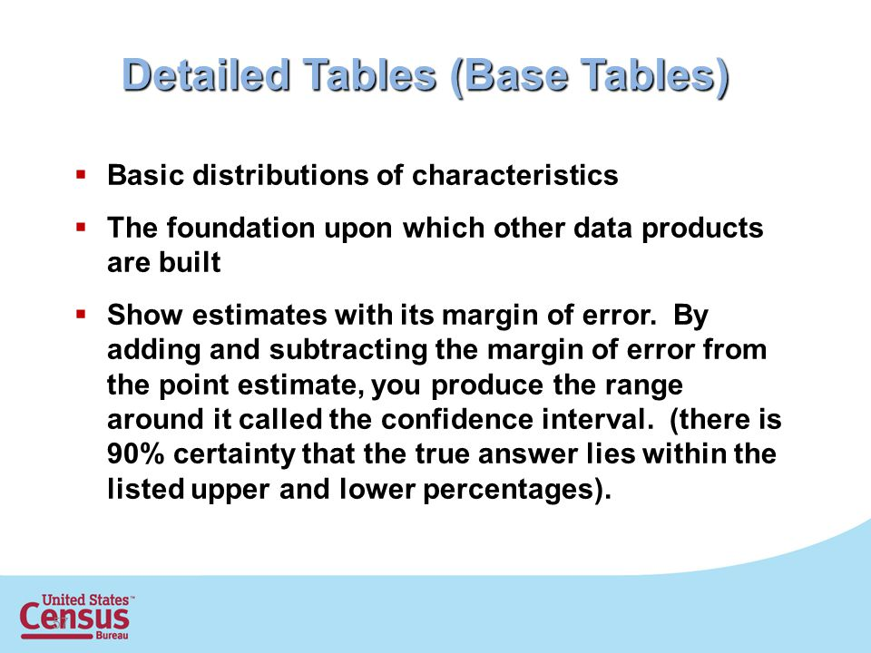 57 Detailed Tables (Base Tables)  Basic distributions of characteristics  The foundation upon which other data products are built  Show estimates with its margin of error.