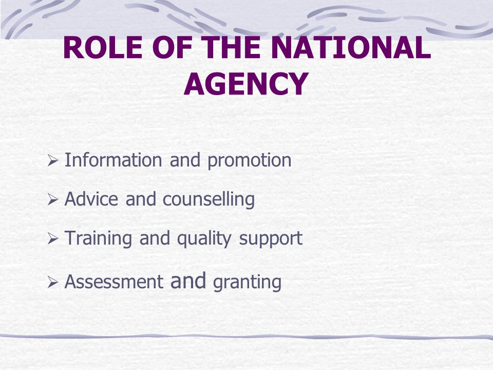 ROLE OF THE NATIONAL AGENCY  Information and promotion  Advice and counselling  Training and quality support  Assessment and granting