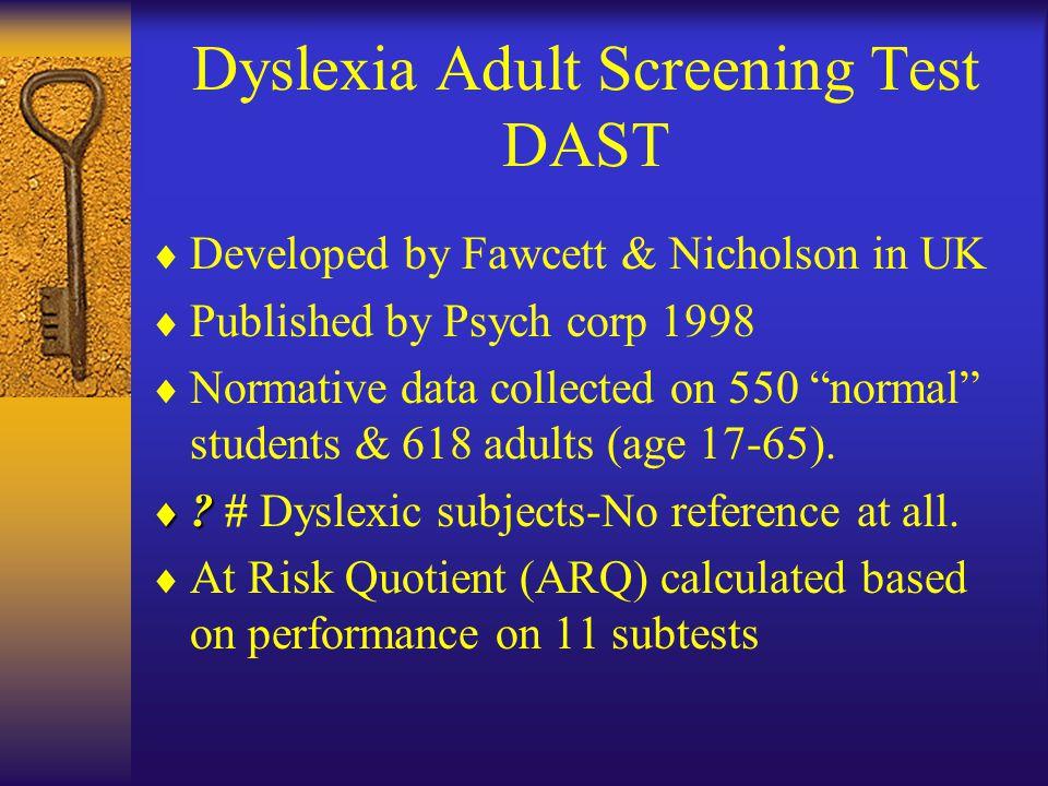 Adult dyslexia test think