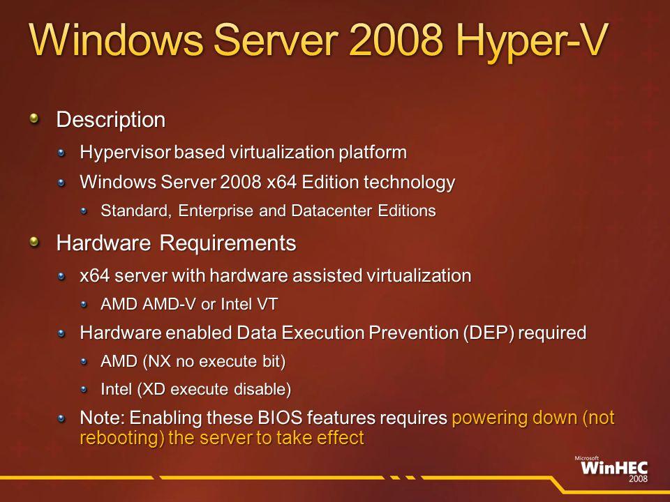 Hardware Platform (CPU, AMD-V or Intel – VT) Hypervisor Parent