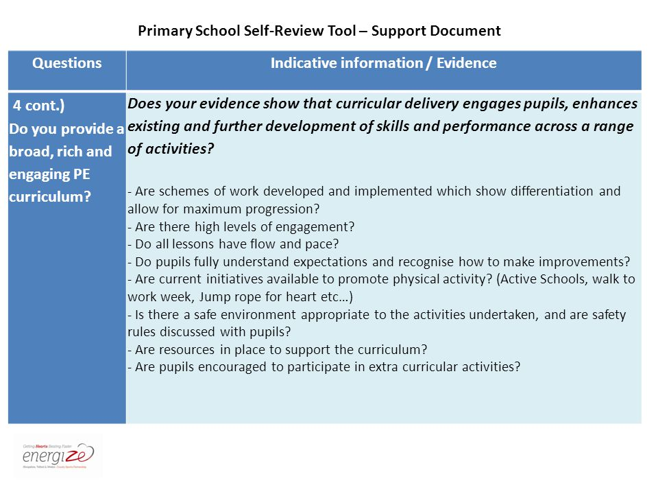 QuestionsIndicative information / Evidence 4 cont.) Do you provide a broad, rich and engaging PE curriculum.