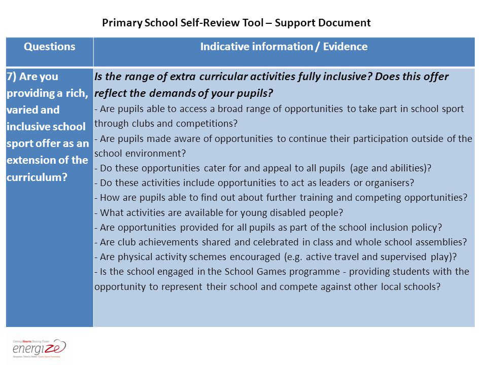 QuestionsIndicative information / Evidence 7) Are you providing a rich, varied and inclusive school sport offer as an extension of the curriculum.