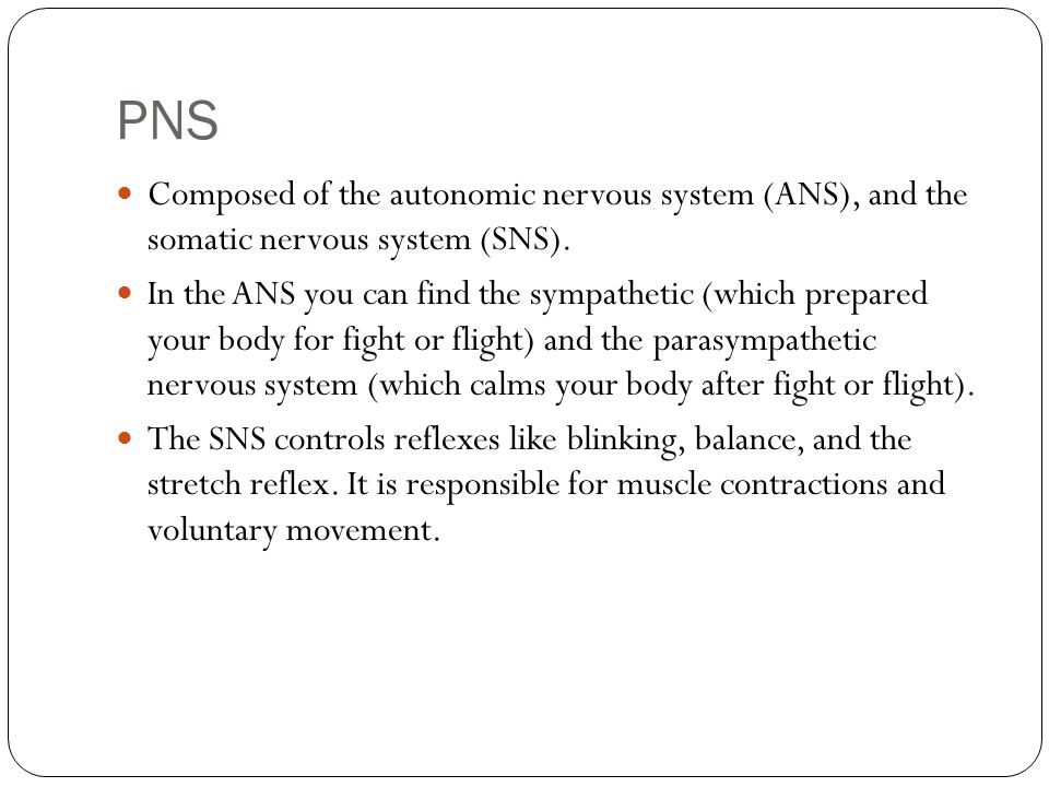 PNS Composed of the autonomic nervous system (ANS), and the somatic nervous system (SNS).
