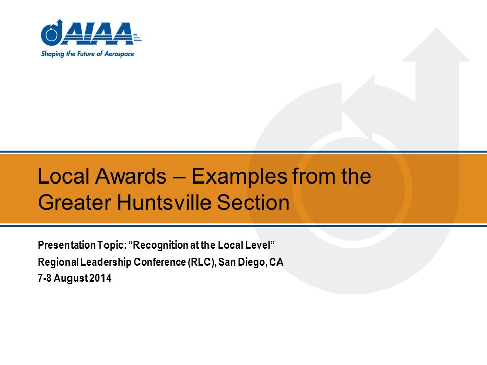 Local Awards Examples From The Greater Huntsville Section