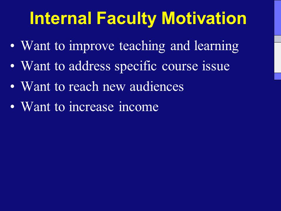 Internal Faculty Motivation Want to improve teaching and learning Want to address specific course issue Want to reach new audiences Want to increase income