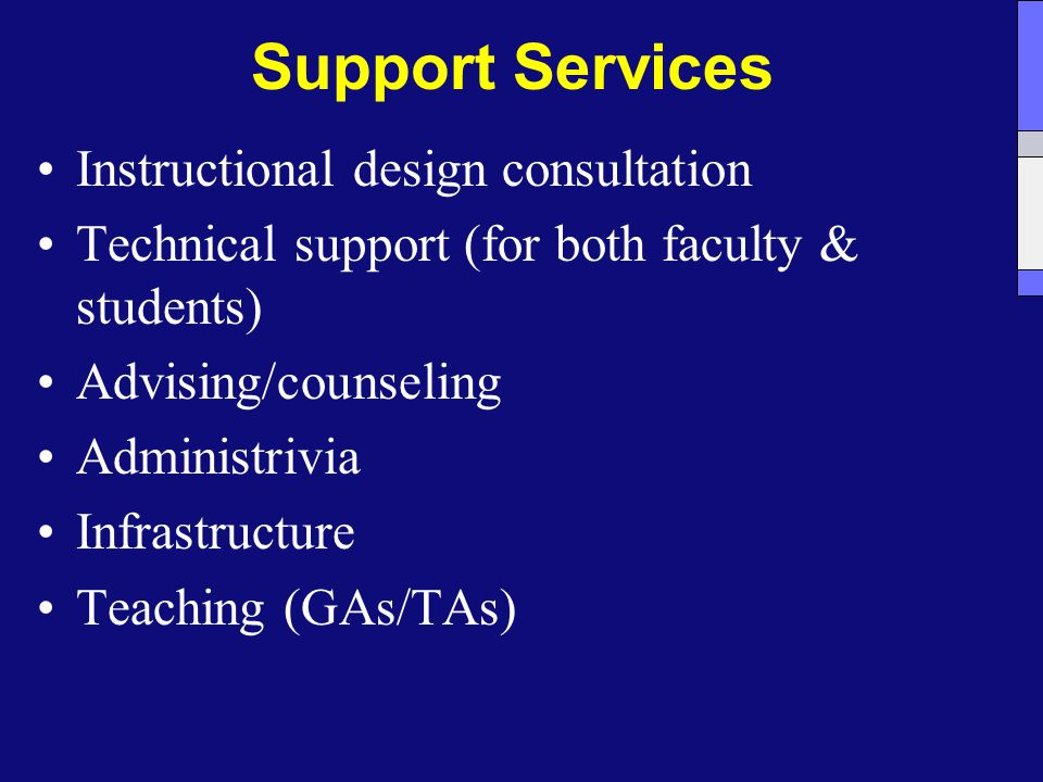 Support Services Instructional design consultation Technical support (for both faculty & students) Advising/counseling Administrivia Infrastructure Teaching (GAs/TAs)