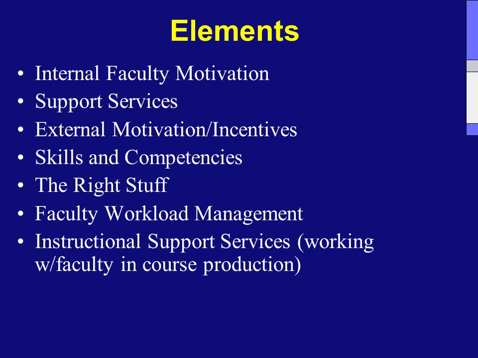 Elements Internal Faculty Motivation Support Services External Motivation/Incentives Skills and Competencies The Right Stuff Faculty Workload Management Instructional Support Services (working w/faculty in course production)