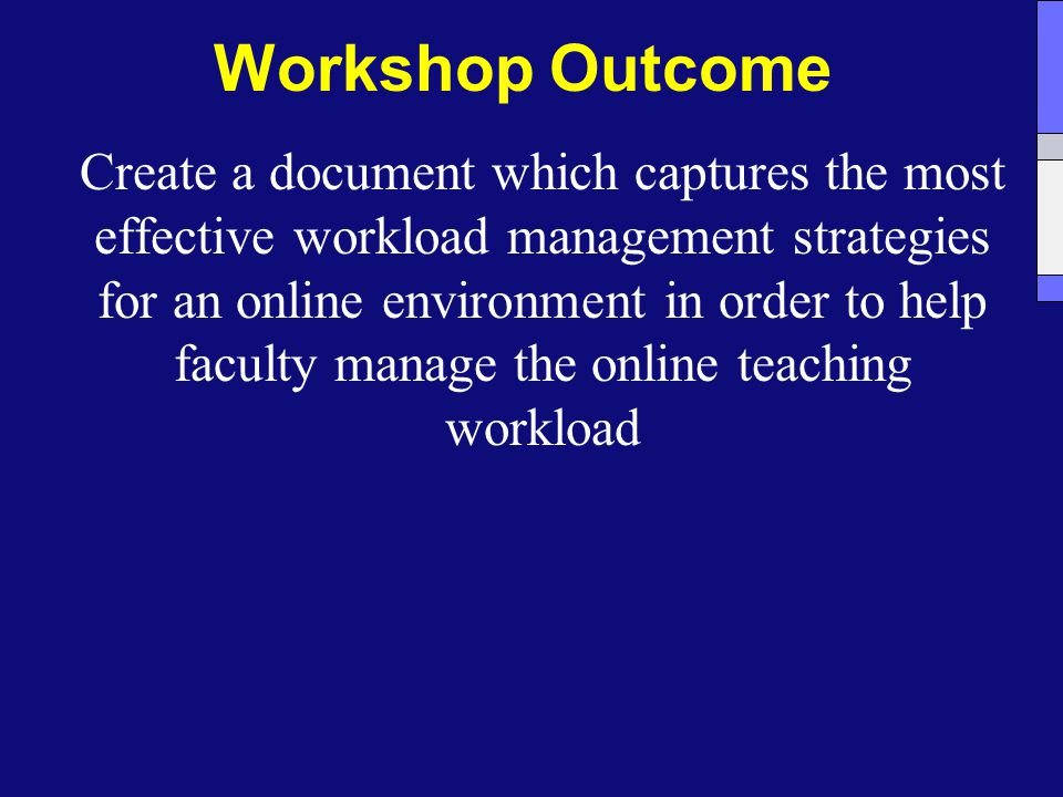 Workshop Outcome Create a document which captures the most effective workload management strategies for an online environment in order to help faculty manage the online teaching workload