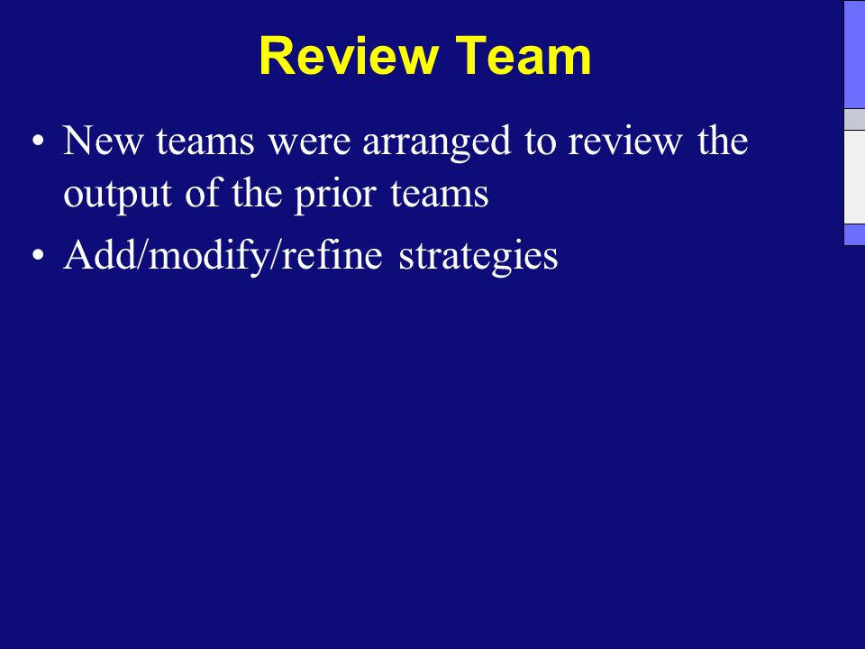 Review Team New teams were arranged to review the output of the prior teams Add/modify/refine strategies
