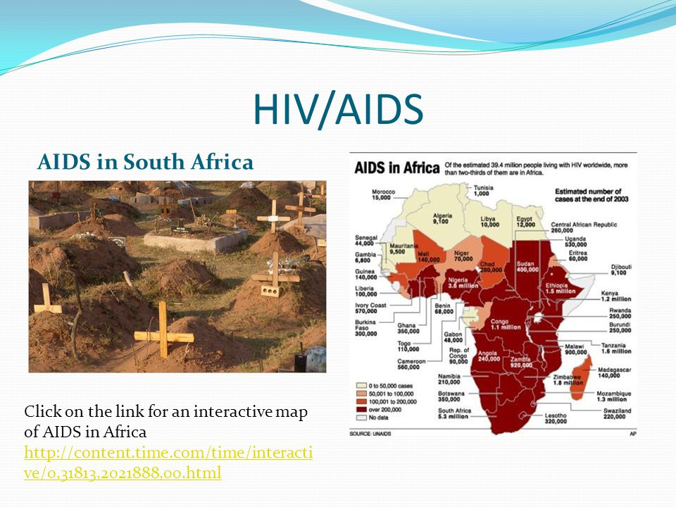 HIV/AIDS AIDS in South Africa Click on the link for an interactive map of AIDS in Africa   ve/0,31813, ,00.html   ve/0,31813, ,00.html