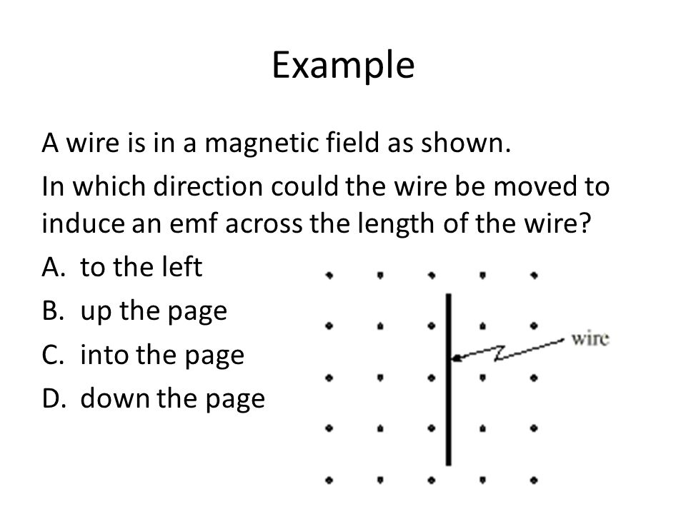 Example A wire is in a magnetic field as shown.