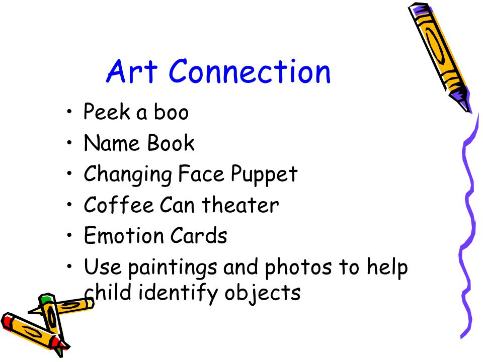 Art Connection Peek a boo Name Book Changing Face Puppet Coffee Can theater Emotion Cards Use paintings and photos to help child identify objects