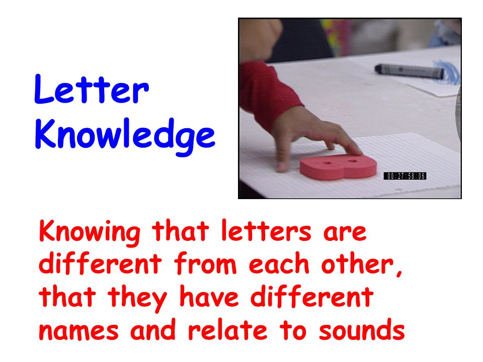 Knowing that letters are different from each other, that they have different names and relate to sounds Letter Knowledge