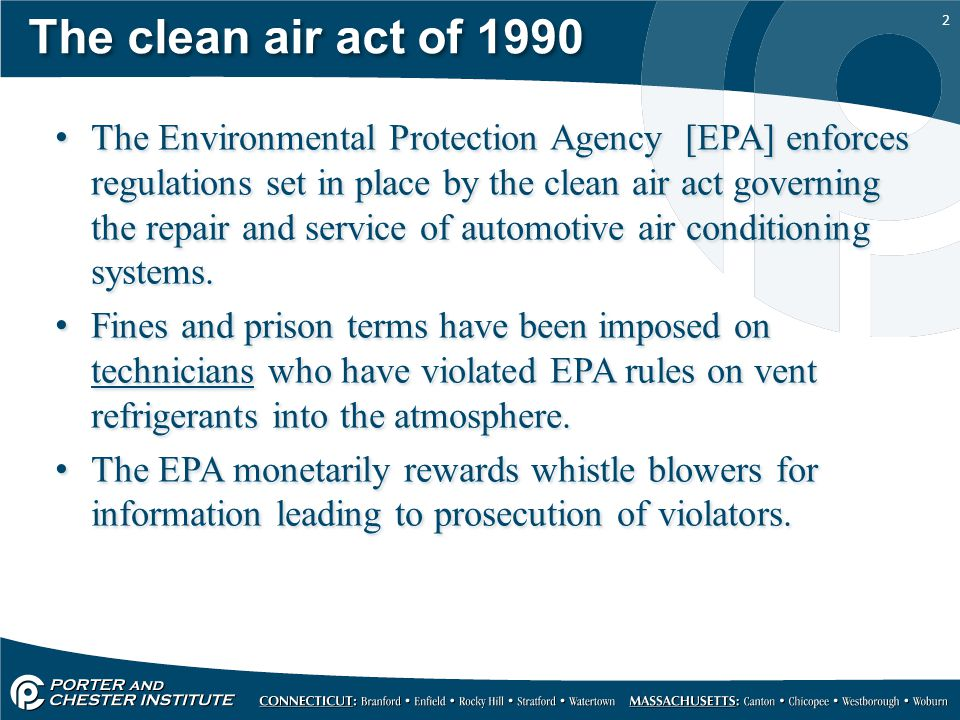 1 Refrigerants and refrigerant oil. 2 The clean air act of 1990 The ...