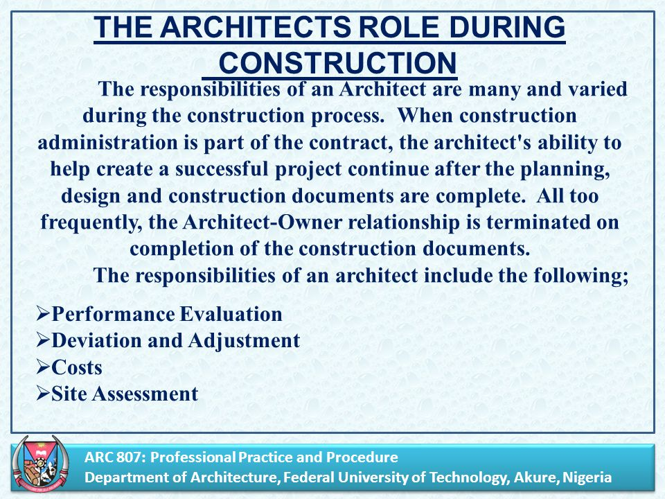 Arc 807 Professional Practice And Procedure Department Of