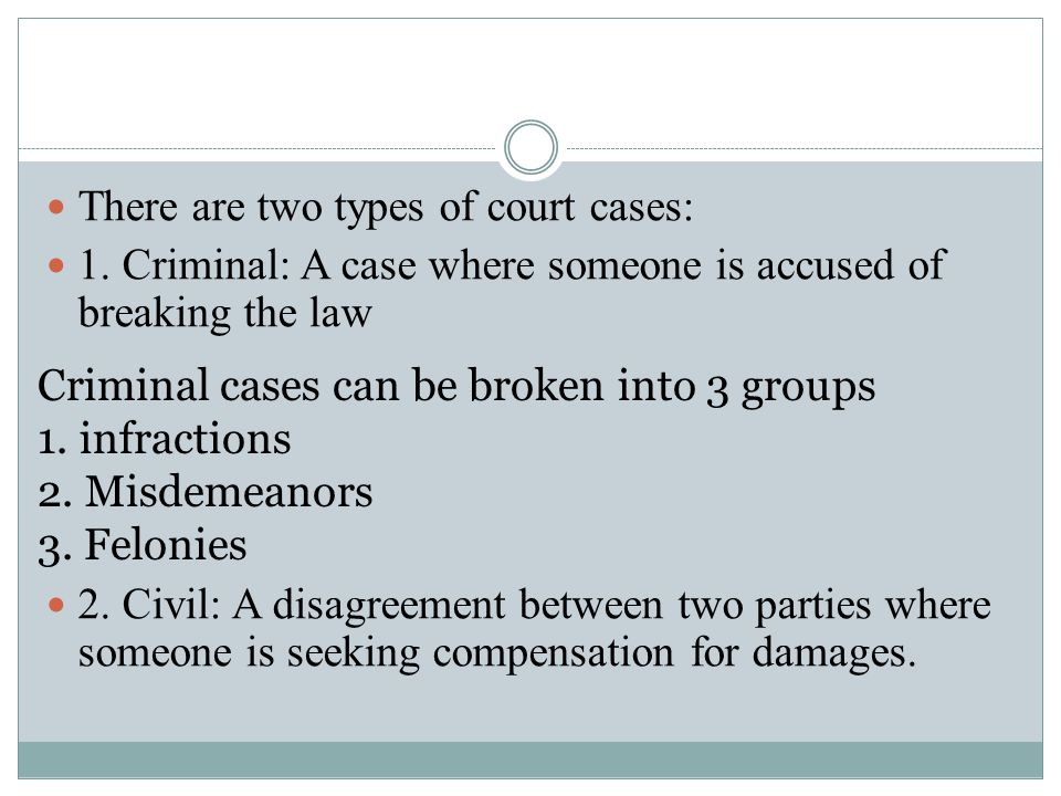There are two types of court cases: 1.