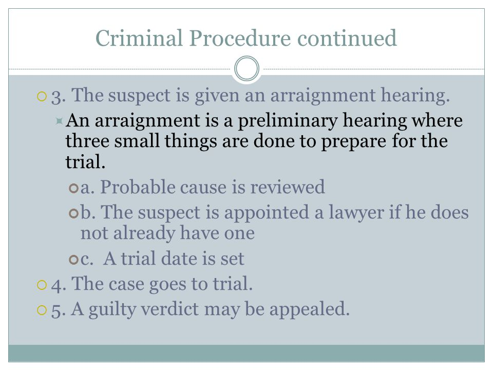 Criminal Procedure continued  3. The suspect is given an arraignment hearing.