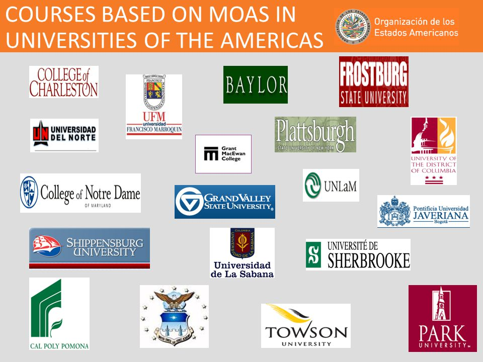 COURSES BASED ON MOAS IN UNIVERSITIES OF THE AMERICAS