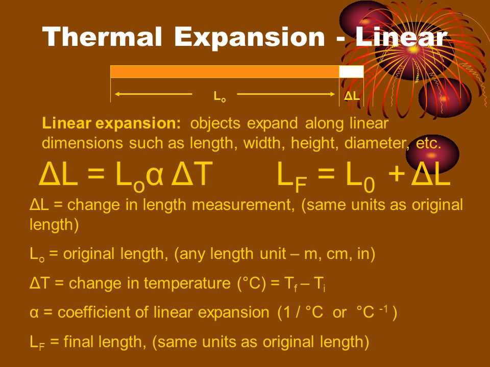 Thermal Expansion - Linear LoLo ΔLΔL Linear expansion: objects expand along linear dimensions such as length, width, height, diameter, etc.