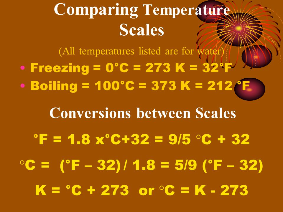 Comparing Temperature Scales Freezing = 0°C = 273 K = 32°F Boiling = 100°C = 373 K = 212 °F Conversions between Scales °F = 1.8 x°C+32 = 9/5 °C + 32 °C = (°F – 32) / 1.8 = 5/9 (°F – 32) K = °C or °C = K (All temperatures listed are for water)