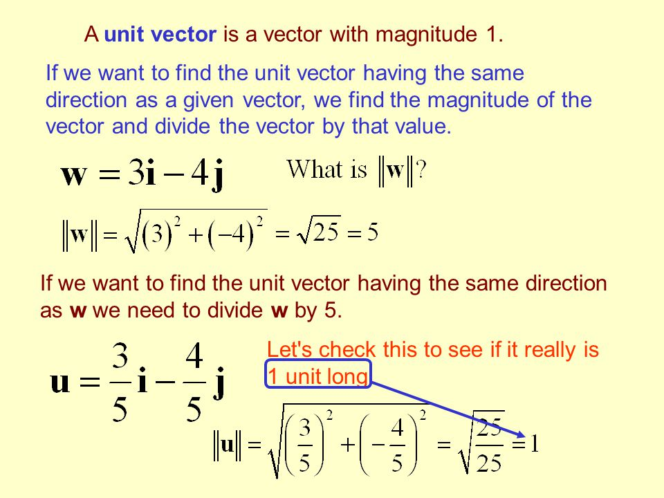 A unit vector is a vector with magnitude 1.