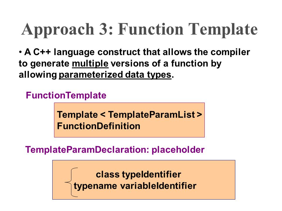 Introduction to c templates and exceptions l c function approach 3 function template a c language construct that allows the compiler to generate multiple maxwellsz