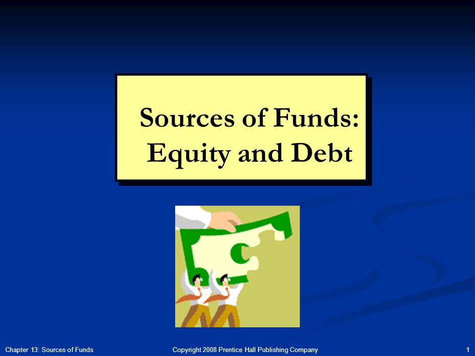 Copyright 2008 Prentice Hall Publishing Company 1Chapter 13: Sources of Funds Sources of Funds: Equity and Debt