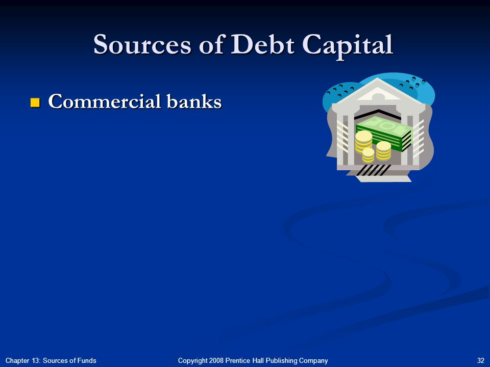 Copyright 2008 Prentice Hall Publishing Company 32Chapter 13: Sources of Funds Sources of Debt Capital Commercial banks Commercial banks