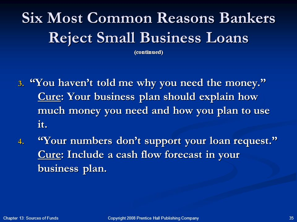 Copyright 2008 Prentice Hall Publishing Company 35Chapter 13: Sources of Funds Six Most Common Reasons Bankers Reject Small Business Loans 3.