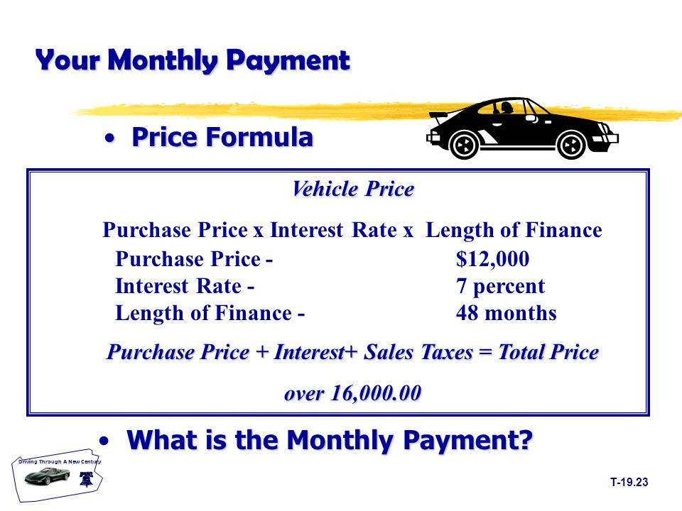 T Driving Through A New Century Your Monthly Payment PriceFormula Price Formula What is the Monthly Payment.