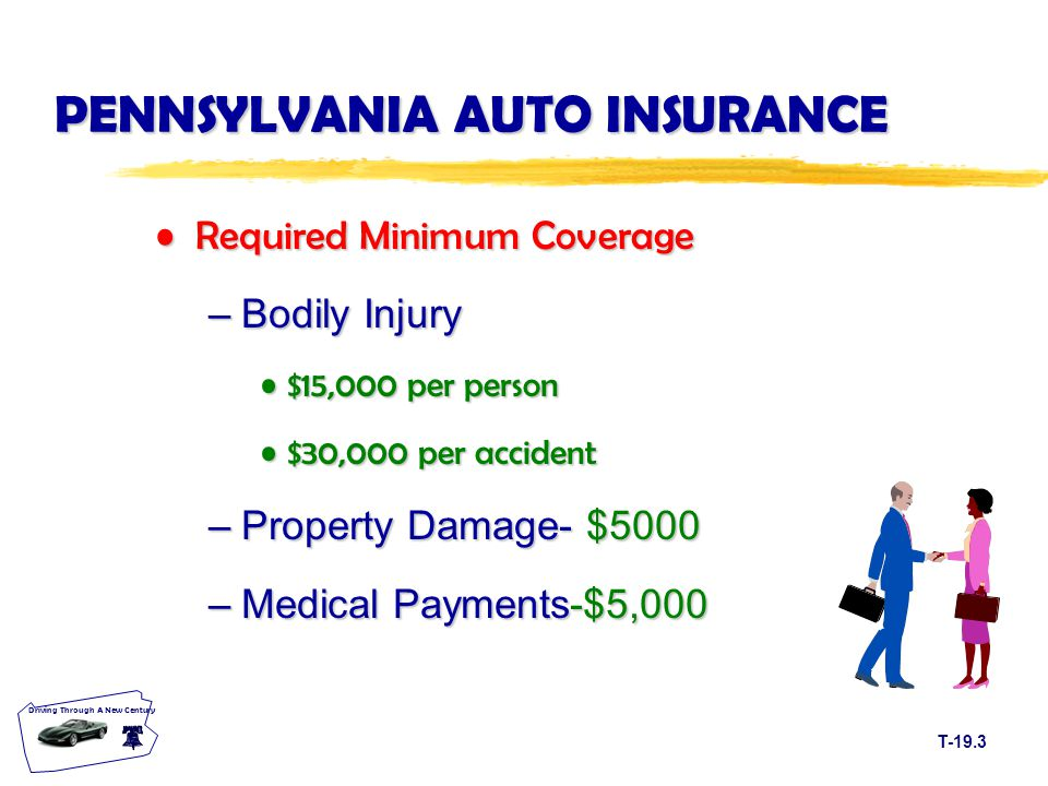 T-19.3 Driving Through A New Century PENNSYLVANIA AUTO INSURANCE Required Minimum CoverageRequired Minimum Coverage –Bodily Injury $15,000 per person$15,000 per person $30,000 per accident$30,000 per accident –Property Damage- $5000 –Medical Payments-$5,000