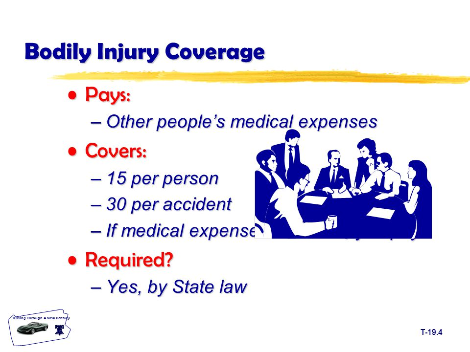 T-19.4 Driving Through A New Century Bodily Injury Coverage Pays:Pays: –Other people's medical expenses Covers:Covers: –15 per person –30 per accident –If medical expenses are more, you pay.