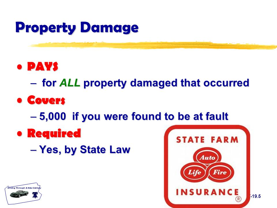 T-19.5 Driving Through A New Century Property Damage PAYS PAYS – for ALL property damaged that occurred Covers Covers –5,000 if you were found to be at fault Required Required –Yes, by State Law
