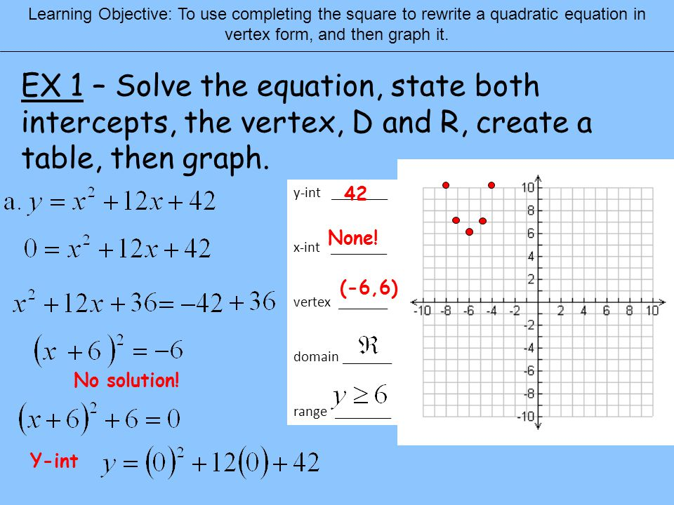 Graphing Quadratics Warm Up In Solve By Completing The Square