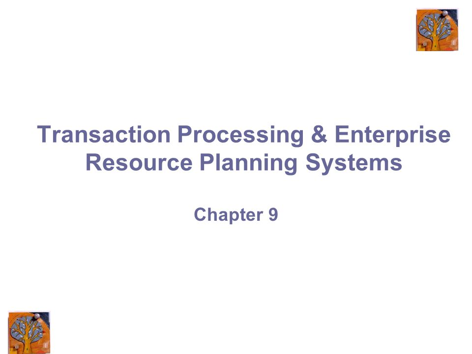 Transaction Processing & Enterprise Resource Planning Systems Chapter 9