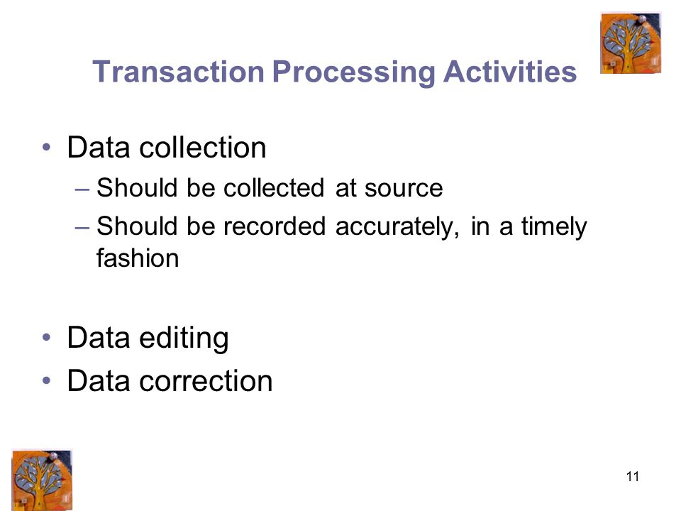 11 Transaction Processing Activities Data collection –Should be collected at source –Should be recorded accurately, in a timely fashion Data editing Data correction