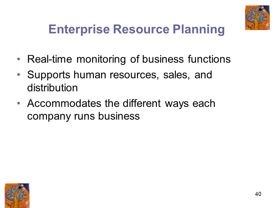 40 Enterprise Resource Planning Real-time monitoring of business functions Supports human resources, sales, and distribution Accommodates the different ways each company runs business