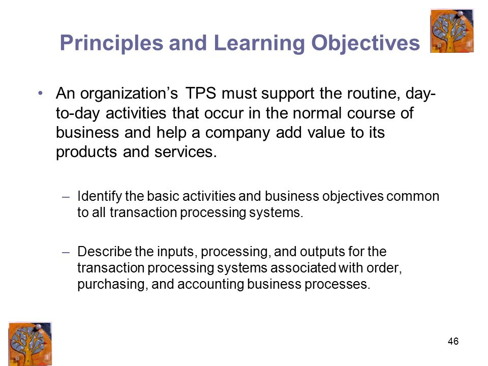 46 Principles and Learning Objectives An organization's TPS must support the routine, day- to-day activities that occur in the normal course of business and help a company add value to its products and services.