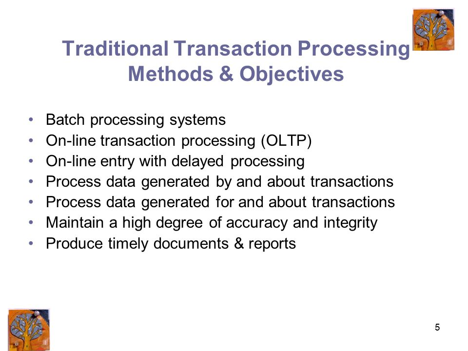 5 Traditional Transaction Processing Methods & Objectives Batch processing systems On-line transaction processing (OLTP) On-line entry with delayed processing Process data generated by and about transactions Process data generated for and about transactions Maintain a high degree of accuracy and integrity Produce timely documents & reports