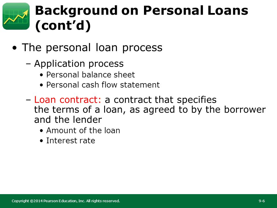 chapter 9 personal loans copyright 2014 pearson education inc