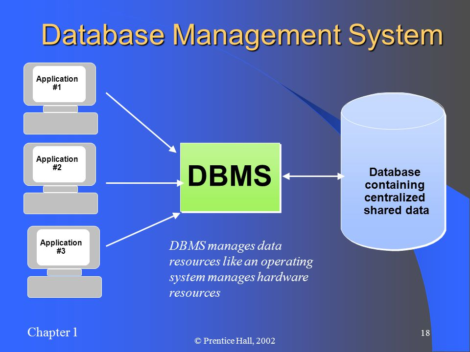 Chapter 1 17 © Prentice Hall, 2002 Database Management System A DBMS is a data storage and retrieval system which permits data to be stored non- redundantly while making it appear to the user as if the data is well-integrated.