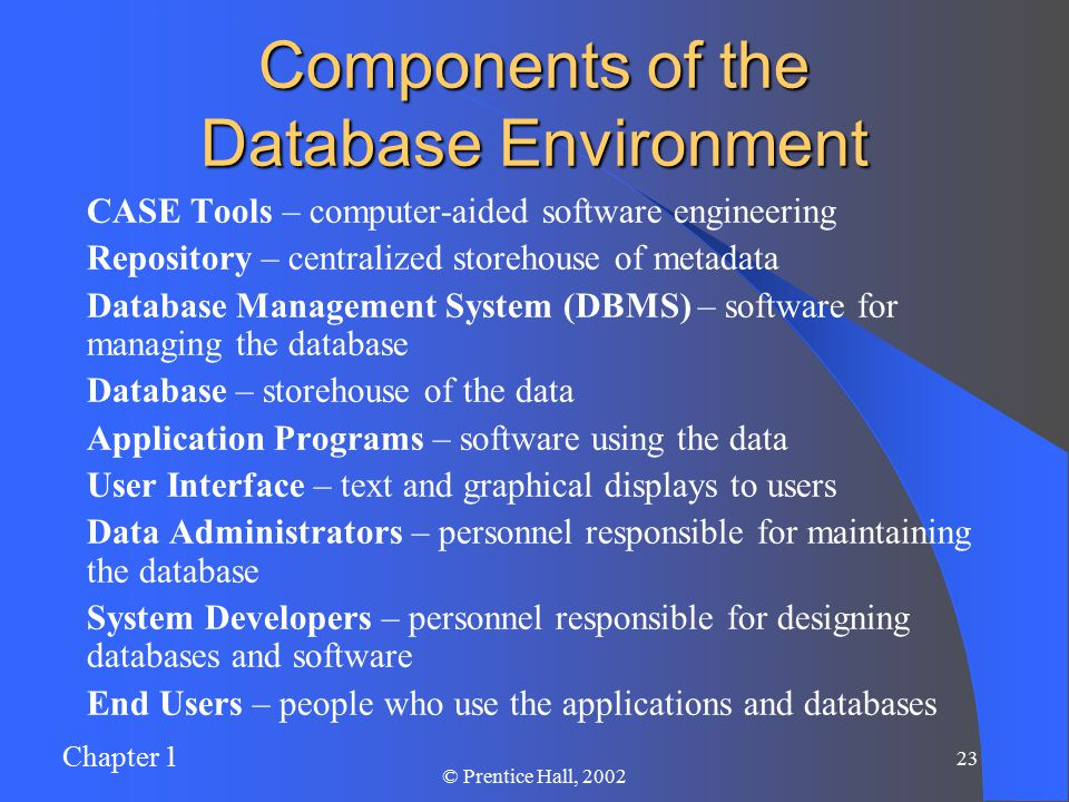 Chapter 1 22 © Prentice Hall, 2002 The Range of Database Applications Personal Database – standalone desktop database Workgroup Database – local area network (<25 users) Department Database – local area network ( users) Enterprise Database – wide-area network (hundreds or thousands of users)